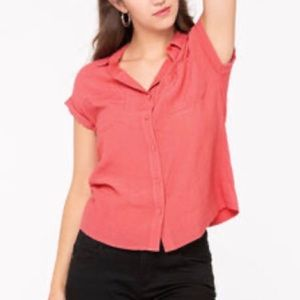 Roll Cuff Button Front Blouse